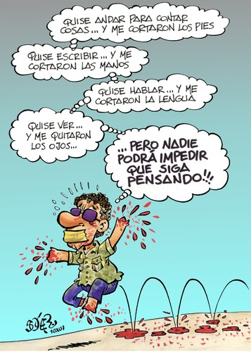 Cartoon: REPORTEROS SIN FRONTERAS (medium) by SOLER tagged periodista,libertad,prensa