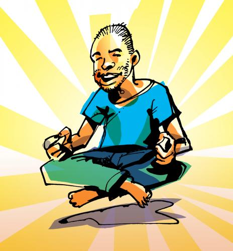 Cartoon: Powermeditation (medium) by Atzenhofer tagged meditation,yoga,strahlend,energie,wellness