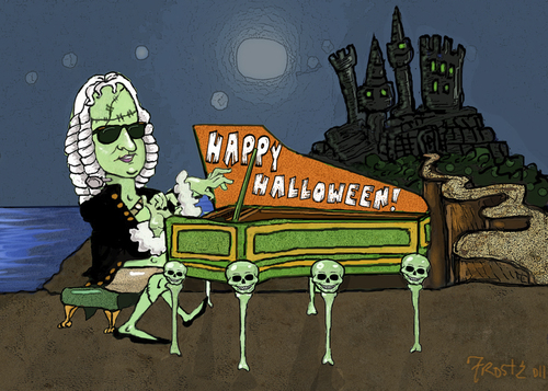 Cartoon: Bachenstein says Happy Halloween (medium) by frostyhut tagged bach,halloween,holiday,scary,castle,harpsichord,piano,baroque,classical,music,composer
