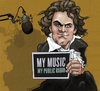 Cartoon: Beethoven supports public radio (small) by frostyhut tagged beethoven,composer,npr,radio,public,classical,microphone