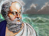Cartoon: Socrates at at the Ocean (small) by frostyhut tagged socrates,classical,sage,elder,man,old,sea,ocean,waves,clouds,water