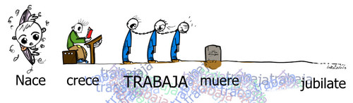 Cartoon: La linea de la vida (medium) by LaRataGris tagged la,jubilacion