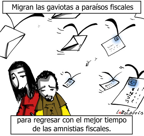 Cartoon: migraciones fiscales (medium) by LaRataGris tagged corrupcion