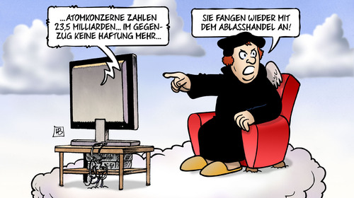 Cartoon: Ablasshandel (medium) by Harm Bengen tagged ablasshandel,martin,luther,atomkonzerne,geld,haftung,atomkraft,kernkraft,endlagerung,harm,bengen,cartoon,karikatur,ablasshandel,martin,luther,atomkonzerne,geld,haftung,atomkraft,kernkraft,endlagerung,harm,bengen,cartoon,karikatur