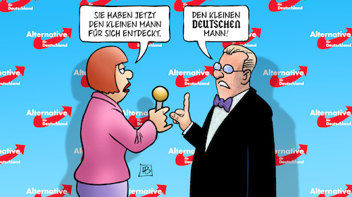 Cartoon: Afd und kleiner Mann (medium) by Harm Bengen tagged afd,bundesparteitag,kleiner,mann,soziales,nationalismus,rechtsradikalismus,rassismus,deutsch,interview,harm,bengen,cartoon,karikatur,afd,bundesparteitag,kleiner,mann,soziales,nationalismus,rechtsradikalismus,rassismus,deutsch,interview,harm,bengen,cartoon,karikatur