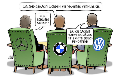 Cartoon: Auto-Hacker (medium) by Harm Bengen tagged automobilindustrie,betrug,abgasskandal,vietnamesen,hacker,ermittlungsbehörden,bmw,vw,daimler,mercedes,harm,bengen,cartoon,karikatur,automobilindustrie,betrug,abgasskandal,vietnamesen,hacker,ermittlungsbehörden,bmw,vw,daimler,mercedes,harm,bengen,cartoon,karikatur