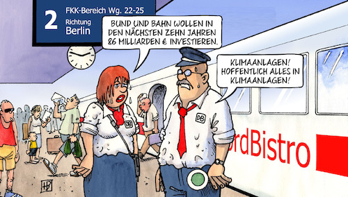 Cartoon: Bahn-Investitionen (medium) by Harm Bengen tagged bund,bahn,86,milliarden,investieren,investitionen,bahnhof,sommer,hitze,klimaanlagen,harm,bengen,cartoon,karikatur,bund,bahn,86,milliarden,investieren,investitionen,bahnhof,sommer,hitze,klimaanlagen,harm,bengen,cartoon,karikatur