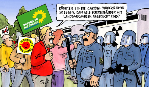 Cartoon: Castor-Route (medium) by Harm Bengen tagged castortransport,transport,route,grüne,polizei,landtagswahlen,strecke,atomkraft,kernkraft,radioaktiv,demo,demonstration,blockade,schottern,castortransport,castor,transport,grüne,polizei,landtagswahlen,strecke,atomkraft,kernkraft,radioaktiv,demo,demonstration,blockade,schottern