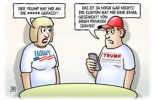 Cartoon: Clinton-Trump-Vergleich (medium) by Harm Bengen tagged trump,pussy,sexuelle,belästigung,clinton,email,privater,server,vergleich,usa,präsidentschaftswahl,harm,bengen,cartoon,karikatur,trump,pussy,sexuelle,belästigung,clinton,email,privater,server,vergleich,usa,präsidentschaftswahl,harm,bengen,cartoon,karikatur
