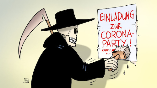 Cartoon: Corona-Party (medium) by Harm Bengen tagged tod,plakat,burnout,corona,party,coronavirus,ansteckung,pandemie,epidemie,krankheit,schaden,harm,bengen,cartoon,karikatur,tod,plakat,burnout,corona,party,coronavirus,ansteckung,pandemie,epidemie,krankheit,schaden,harm,bengen,cartoon,karikatur