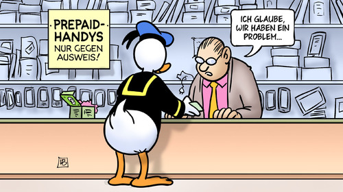 Cartoon: Donald-Duck-Ausweis (medium) by Harm Bengen tagged donald,duck,ausweis,antiterrorpaket,demaiziere,innenminister,laden,verkauf,prepaidhandys,problem,harm,bengen,cartoon,karikatur,donald,duck,ausweis,antiterrorpaket,demaiziere,innenminister,laden,verkauf,prepaidhandys,problem,harm,bengen,cartoon,karikatur