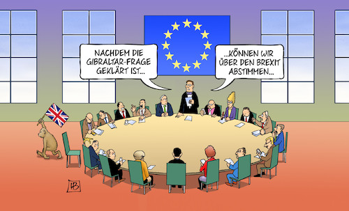 Cartoon: EU-Brexit-Gipfel (medium) by Harm Bengen tagged gibraltar,frage,eu,europa,brexit,gipfel,affe,gb,uk,fahne,banane,harm,bengen,cartoon,karikatur,gibraltar,frage,eu,europa,brexit,gipfel,affe,gb,uk,fahne,banane,harm,bengen,cartoon,karikatur