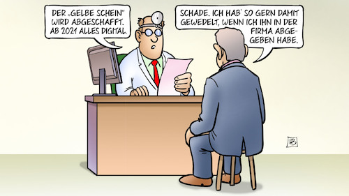 Cartoon: Gelber Schein (medium) by Harm Bengen tagged bürokratieentlastungsgesetz,krankschreibung,krankenschein,gelber,schein,arzt,patient,digital,analog,harm,bengen,cartoon,karikatur,bürokratieentlastungsgesetz,krankschreibung,krankenschein,gelber,schein,arzt,patient,digital,analog,harm,bengen,cartoon,karikatur