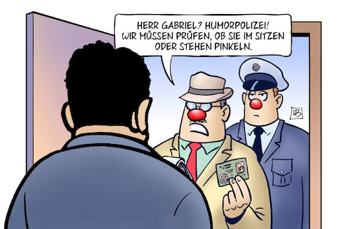 Cartoon: Humorpolizei (medium) by Harm Bengen tagged gabriel,humorpolizei,sitzen,stehen,pinkeln,akk,kramp,karrenbauer,fasching,karneval,witz,scherz,transgender,toiletten,harm,bengen,cartoon,karikatur,gabriel,humorpolizei,sitzen,stehen,pinkeln,akk,kramp,karrenbauer,fasching,karneval,witz,scherz,transgender,toiletten,harm,bengen,cartoon,karikatur