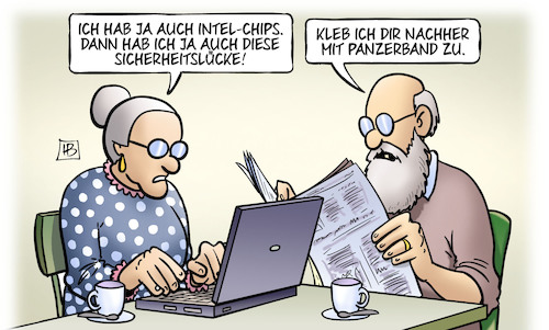 Cartoon: Intel-Lücke (medium) by Harm Bengen tagged intel,computer,laptop,chips,sicherheitslücke,kleben,panzerband,susemil,harm,bengen,cartoon,karikatur,intel,computer,laptop,chips,sicherheitslücke,kleben,panzerband,susemil,harm,bengen,cartoon,karikatur