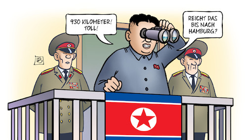 Cartoon: Kim Interkontinental (medium) by Harm Bengen tagged 930,kilometer,kim,jong,un,interkontinental,raketentest,hamburg,fernglas,nordkorea,usa,g20,harm,bengen,cartoon,karikatur,930,kilometer,kim,jong,un,interkontinental,raketentest,hamburg,fernglas,nordkorea,usa,g20,harm,bengen,cartoon,karikatur