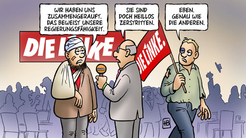 Cartoon: Linke-Flügelkämpfe (medium) by Harm Bengen tagged linke,fluegelkämpfe,partei,parteitag,göttingen,gysi,lafontaine,bartsch,kipping,ernst,riexinger,wagenknecht,realos,westen,osten,reformer,doppelspitze,machtkampf,linke,partei,parteitag,göttingen,gysi,lafontaine,bartsch,kipping,riexinger,wagenknecht