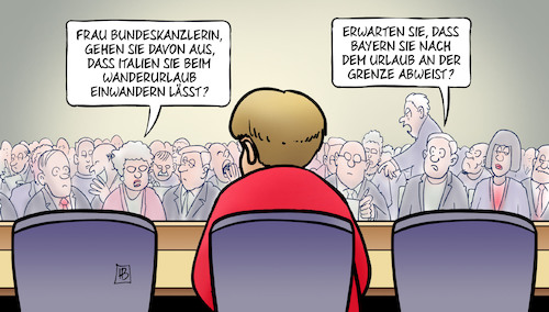 Cartoon: Merkel-Urlaub (medium) by Harm Bengen tagged bundeskanzlerin,merkel,urlaub,italien,wanderurlaub,einwandern,asylpolitik,migration,bayern,seehofer,söder,grenze,abweisen,pressekonferenz,harm,bengen,cartoon,karikatur,bundeskanzlerin,merkel,urlaub,italien,wanderurlaub,einwandern,asylpolitik,migration,bayern,seehofer,söder,grenze,abweisen,pressekonferenz,harm,bengen,cartoon,karikatur