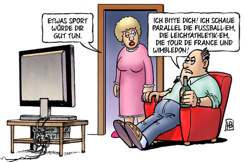 Cartoon: Sport satt (medium) by Harm Bengen tagged sport,tv,mann,frau,parallel,fussball,em,europameisterschaft,leichtathletik,tour,de,france,wimbledon,tennis,faul,unsportlich,harm,bengen,cartoon,karikatur,sport,tv,mann,frau,parallel,fussball,em,europameisterschaft,leichtathletik,tour,de,france,wimbledon,tennis,faul,unsportlich,harm,bengen,cartoon,karikatur