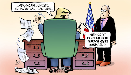 Cartoon: Trump-Dekretee (medium) by Harm Bengen tagged obamacare,unesco,klimavertrag,iran,deal,kündigen,trump,dekrete,usa,harm,bengen,cartoon,karikatur,obamacare,unesco,klimavertrag,iran,deal,kündigen,trump,dekrete,usa,harm,bengen,cartoon,karikatur