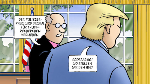 Cartoon: Trump und Pulitzer-Preis (medium) by Harm Bengen tagged pulitzer,preis,trump,recherchen,usa,oval,office,presse,auszeichnung,harm,bengen,cartoon,karikatur,pulitzer,preis,trump,recherchen,usa,oval,office,presse,auszeichnung,harm,bengen,cartoon,karikatur