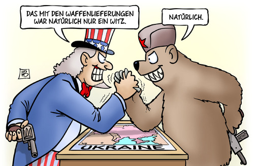Cartoon: Ukraine-Waffenlieferungen (medium) by Harm Bengen tagged uncle,drohungen,krieg,waffen,russland,usa,ukraine,witz,waffenlieferungen,sam,karikatur,cartoon,bengen,harm,bär,ukraine,waffenlieferungen,witz,usa,russland,waffen,krieg,drohungen,uncle,sam,bär,harm,bengen,cartoon,karikatur