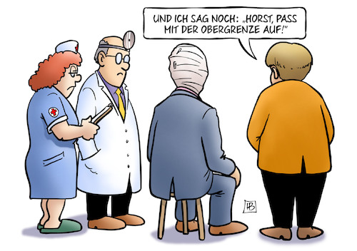 Cartoon: Unions-Sondierungen (medium) by Harm Bengen tagged union,cdu,csu,sondierungen,jamaika,horst,seehofer,merkel,obergrenze,arzt,krankenschwester,verband,harm,bengen,cartoon,karikatur,union,cdu,csu,sondierungen,jamaika,horst,seehofer,merkel,obergrenze,arzt,krankenschwester,verband,harm,bengen,cartoon,karikatur