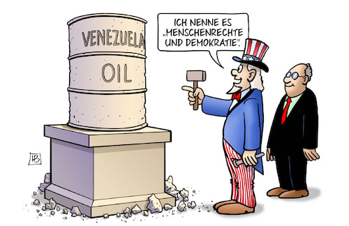 Cartoon: Venezuela-Öl (medium) by Harm Bengen tagged venezuela,öl,usa,uncle,sam,denkmal,bildhauer,menschenrechte,demokratie,einmischung,harm,bengen,cartoon,karikatur,venezuela,öl,usa,uncle,sam,denkmal,bildhauer,menschenrechte,demokratie,einmischung,harm,bengen,cartoon,karikatur