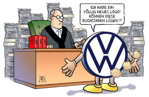 Cartoon: VW-Sammelklage (medium) by Harm Bengen tagged sammelklage,musterfeststellungsklage,gericht,richter,betrug,abgasskandal,neues,logo,akten,diess,poetsch,winterkorn,anklage,marktmanipulation,aktienkurs,vw,harm,bengen,cartoon,karikatur,sammelklage,musterfeststellungsklage,gericht,richter,betrug,abgasskandal,neues,logo,akten,diess,poetsch,winterkorn,anklage,marktmanipulation,aktienkurs,vw,harm,bengen,cartoon,karikatur