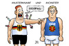 Cartoon: Westdeutsches Doping (small) by Harm Bengen tagged westdeutschland,brd,ddr,staat,sport,betrug,pharma,forschung,doping,harm,bengen,cartoon,karikatur