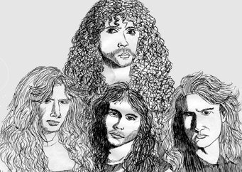 Cartoon: Megadeth (medium) by LeMommio tagged megadeth,heavy,metal,band