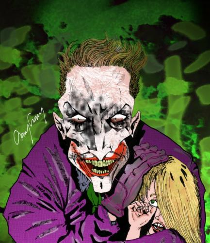 Cartoon: Joker with little blonde (medium) by csamcram tagged joker,csam,cram,superheroes,superheroe,supereroi,supereroe,superhelden,superheld,batman,comics