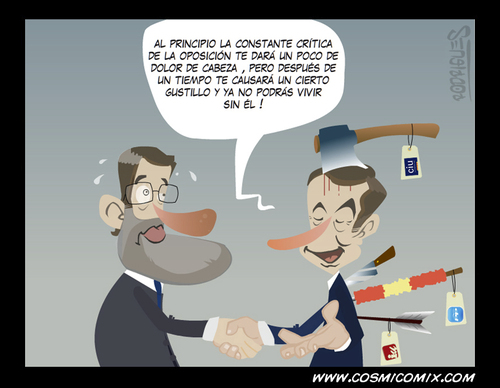 Cartoon: critica al presidente (medium) by cosmicomix tagged mariano,rajoy,rodriguez,zapatero,ppsoe