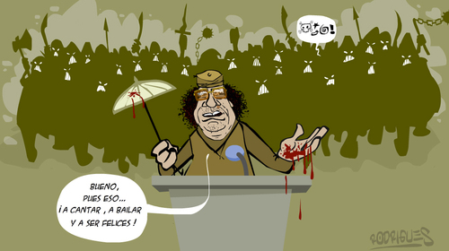 Cartoon: Festival de la felicidad (medium) by cosmicomix tagged revolution,discurso,speech,gadafi,gaddafi