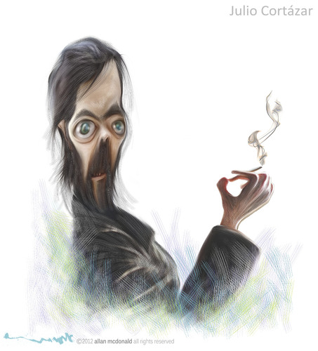 Cartoon: julio cortazar (medium) by allan mcdonald tagged literatura