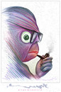 Cartoon: Jean-Paul Sartre (small) by allan mcdonald tagged filosofia