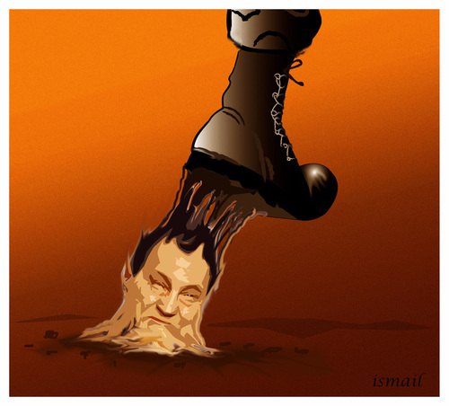 Cartoon: GLUE !.. (medium) by ismail dogan tagged moubarak