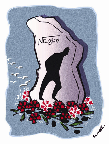 Cartoon: NAZIM HIKMET 108 YEARS !.. (medium) by ismail dogan tagged poete,nazim,hikmet,108,ans