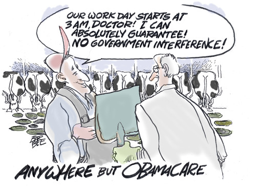 Cartoon: career (medium) by barbeefish tagged obamacare