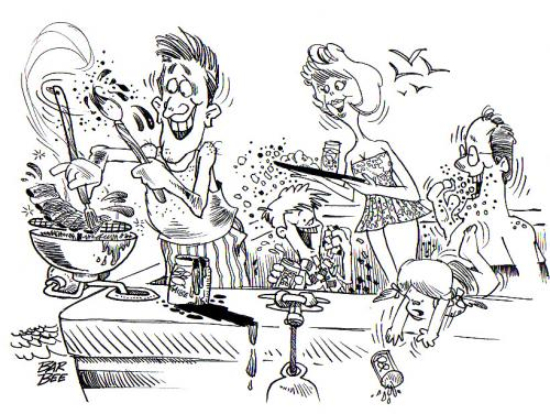 Cartoon: vacation (medium) by barbeefish tagged bbq,on,the,boat,