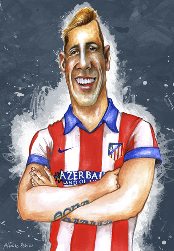 Cartoon: FERNANDO TORRES (medium) by lagrancosaverde tagged fernando,torres,karikature,caricature,caricatura,atletico,madrid,chelsea,espana