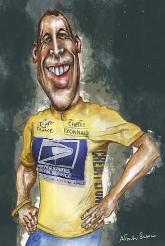 Cartoon: LANCE ARMSTRONG (medium) by lagrancosaverde tagged lance,armstrong,ciclismo,cycling