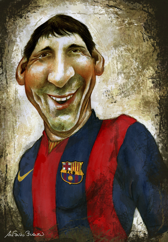 Cartoon: MESSI (medium) by lagrancosaverde tagged messi,barcelona,caricature,caricaturas,karikatur