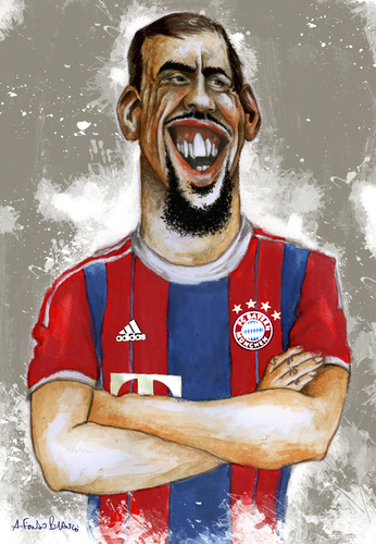Cartoon: Ribery (medium) by lagrancosaverde tagged bayern,cartoon,caricature,caricatura,france,ribery