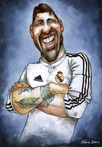 Cartoon: Sergio Ramos (medium) by lagrancosaverde tagged caricatura,karikatur,caricature,blanco,alfonso,madrid,real,ramos,sergio
