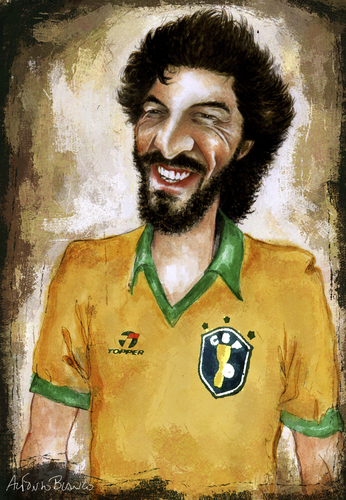 Cartoon: Socrates (medium) by lagrancosaverde tagged socrates,brazil,fussbal,futbol,karikatur,caricatura