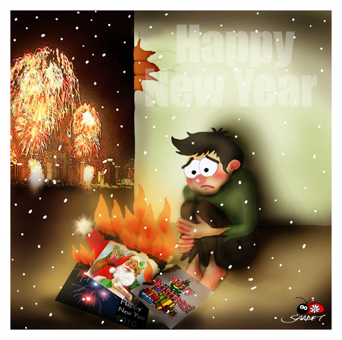 Cartoon: Happy New Year... (medium) by saadet demir yalcin tagged 2010,new,year,syalcin