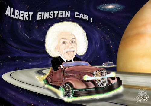 Cartoon: ALBERT EINSTEIN CAR (medium) by T-BOY tagged albert,einstein,car
