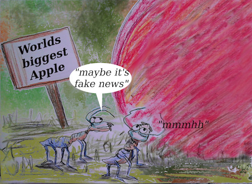 Cartoon: small world (medium) by wheelman tagged forrest,apple,fake,news,think