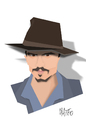 Cartoon: Johnny Depp cut out caricature (small) by geomateo tagged johnny depp cutout
